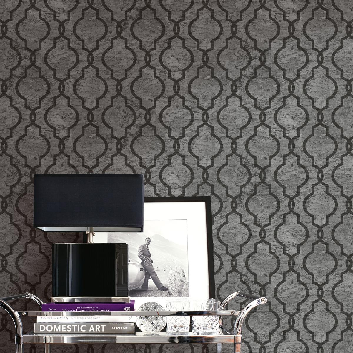 Cork Geo Trellis Wallpaper Ash Grey Pear Tree