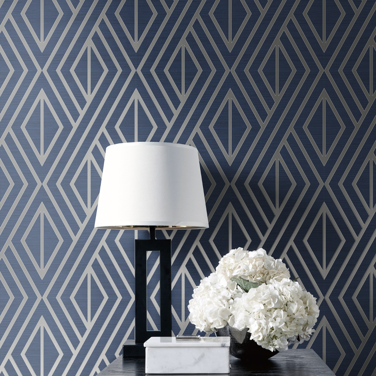 Geometric Wallpaper Blue and Silver Pear Tree