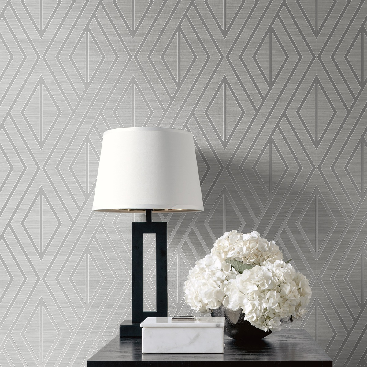 Geometric Wallpaper Grey and Silver Pear Tree