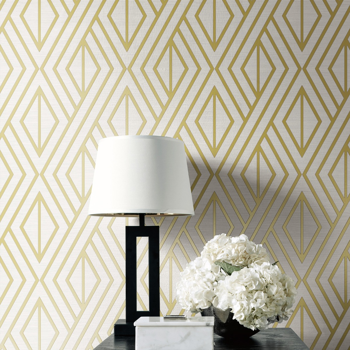 Geometric Wallpaper White and Gold Pear Tree