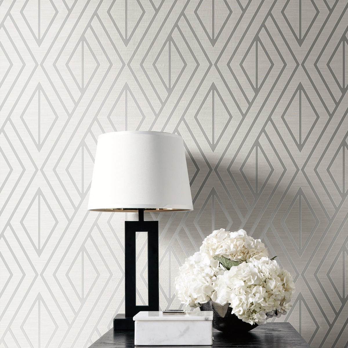 Geometric Wallpaper White and Silver Pear Tree