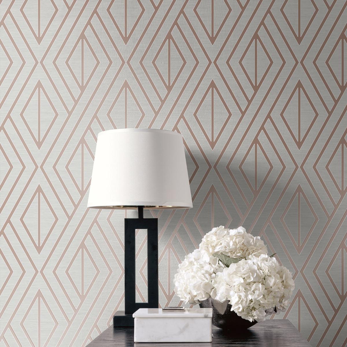 Geometric Wallpaper Grey and Rose Gold Pear Tree