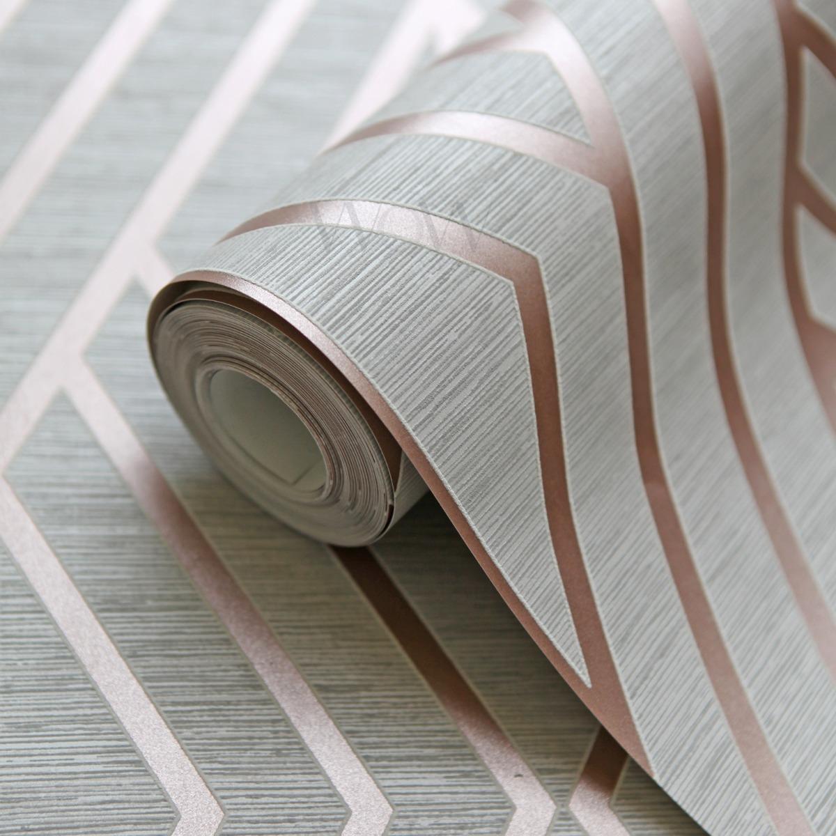 Geometric Wallpaper Grey and Rose Gold