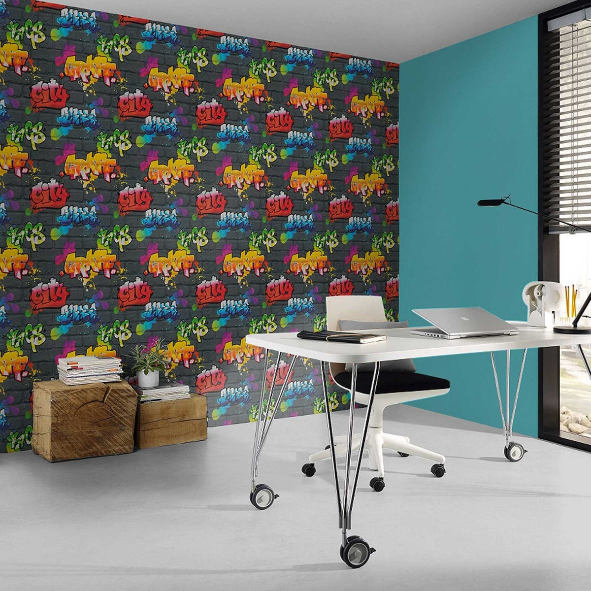 Graffiti Wallpaper Black Rasch 237801