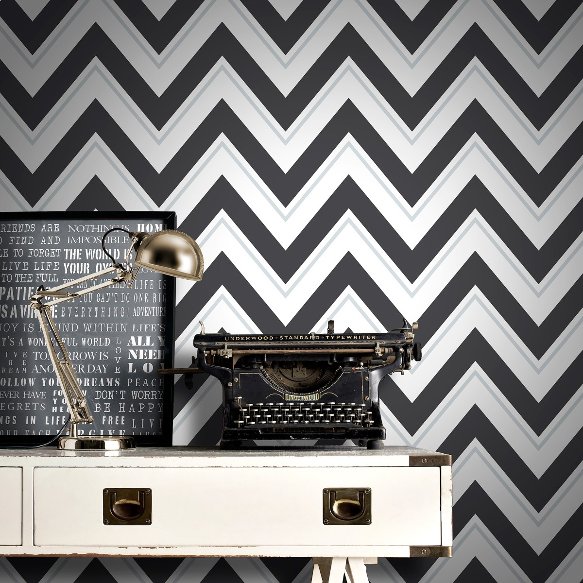 Chevron Wallpaper Black and White Rasch 304107
