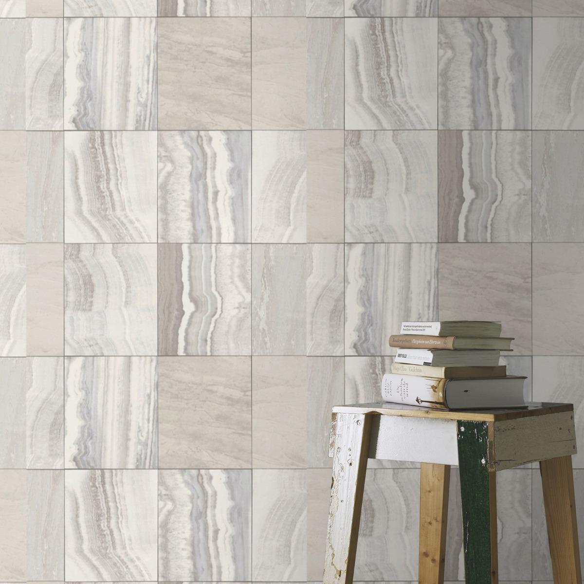 Marble Tile Wallpaper White Rasch