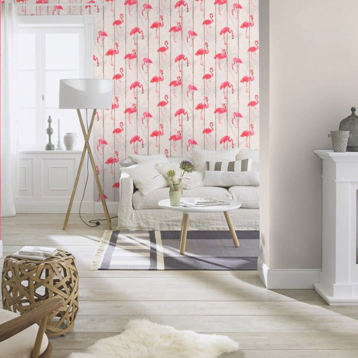 Barbara Becker Flamingo Wallpaper Natural White 479720