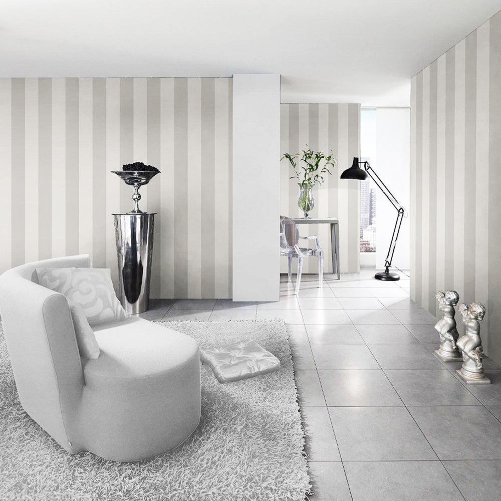 Stripe Wallpaper Silver and White Rasch 286632
