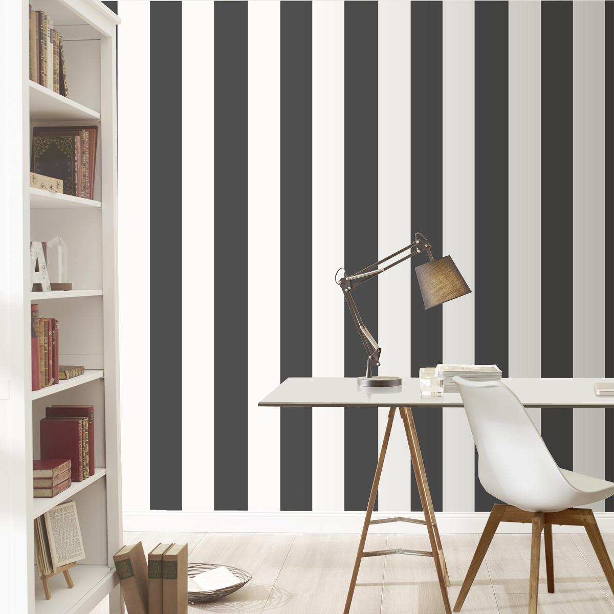 Stripe Wallpaper Black and White Rasch 286694