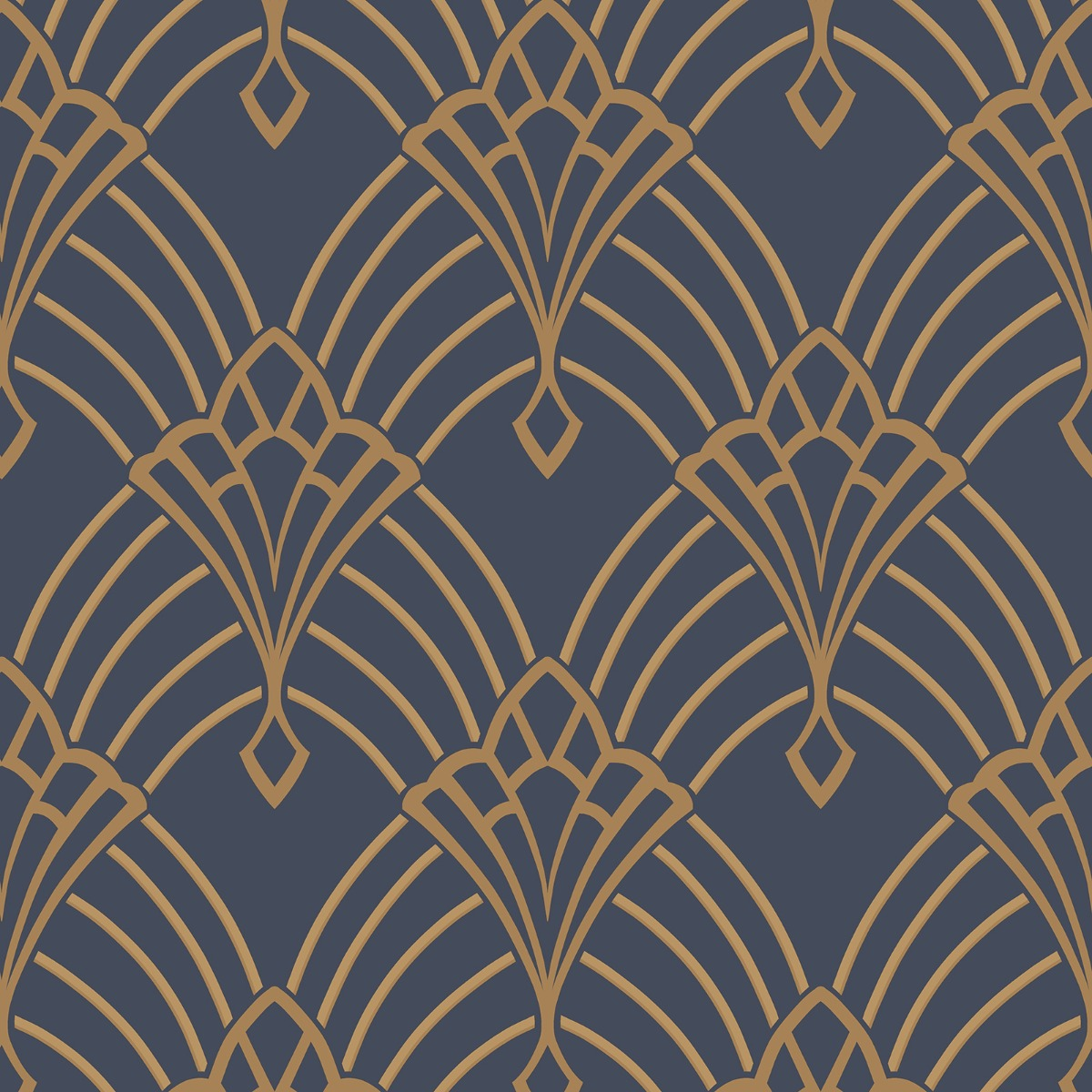 Astoria Deco Wallpaper Dark Blue and Gold Rasch