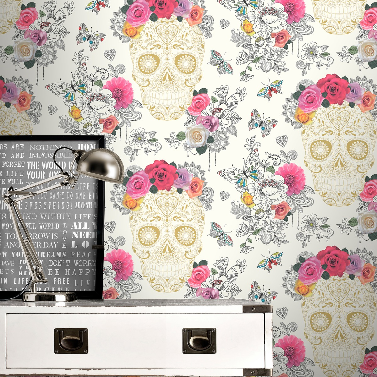 Sugar Skulls Wallpaper Cream and Gold Rasch 278026