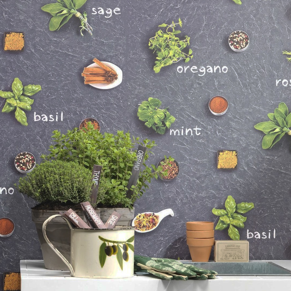 Herbs and Spices Wallpaper Rasch 930900