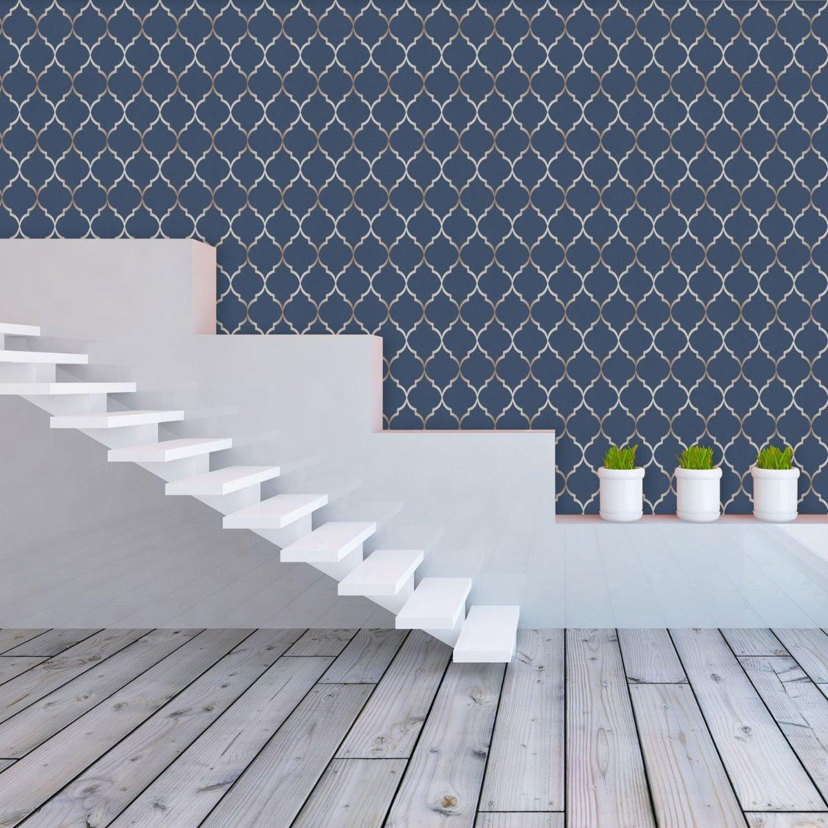 Fretwork Geometric Wallpaper Midnight Blue Rasch