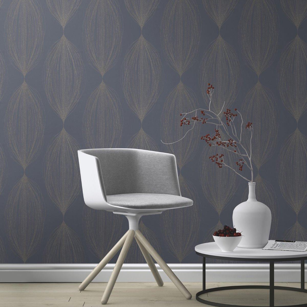 Sparkling Glitter Linear Leaf Wallpaper Blue / Silver Rasch