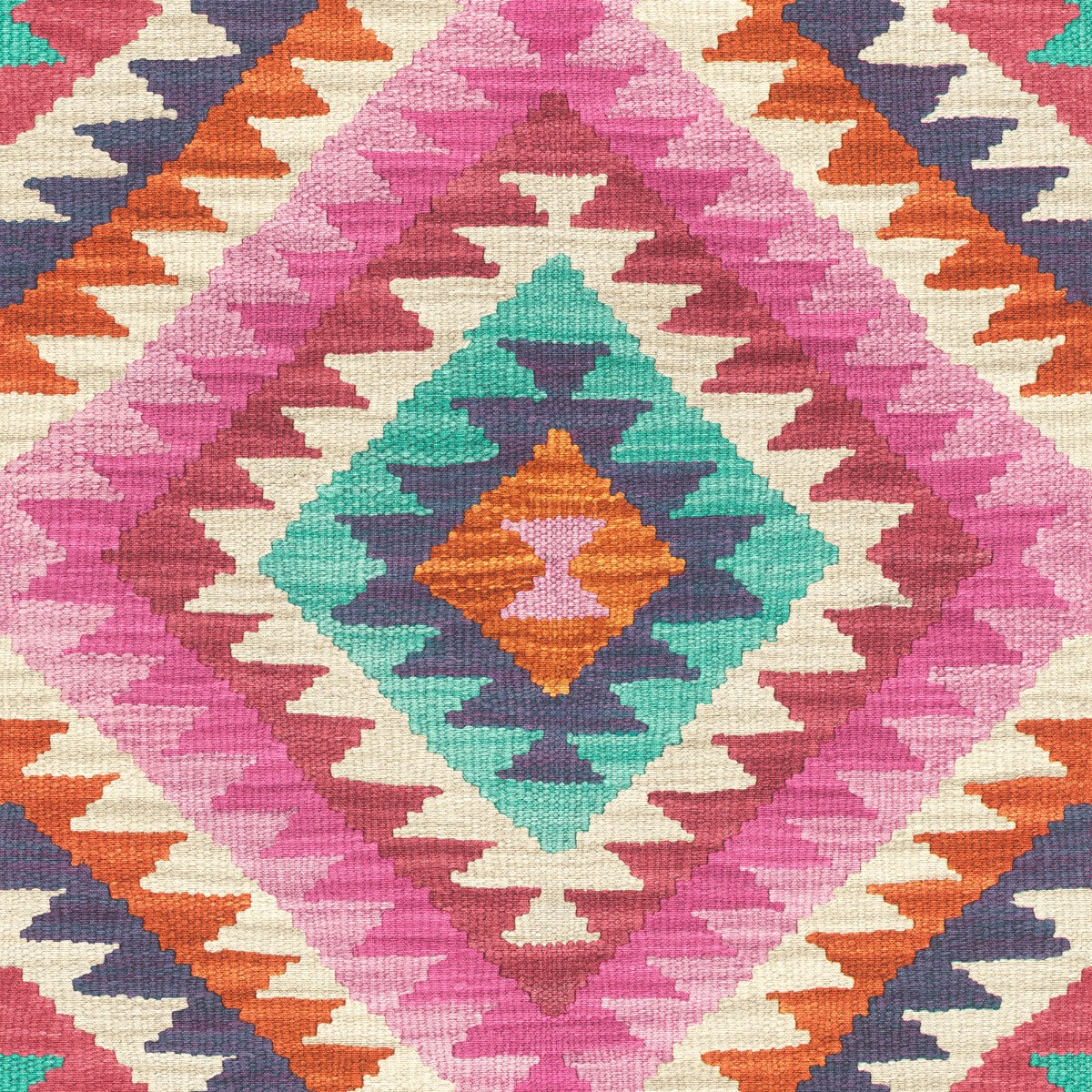 Barbara Home Kilim Style Aztec Wallpaper - Pink and Multi - Rasch 527445