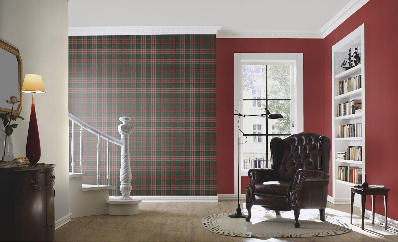 Barbara Becker Tartan Wallpaper - Red and Green - Rasch 861730