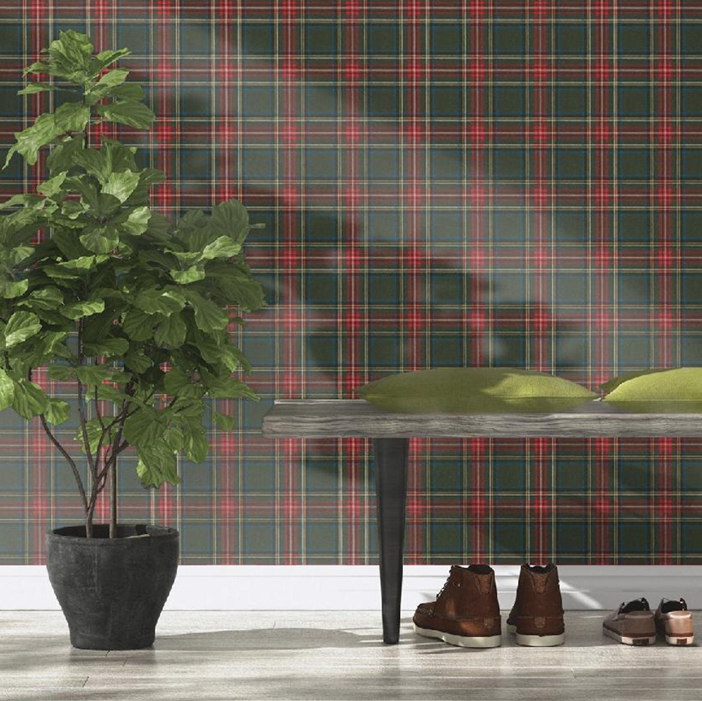 Barbara Becker Tartan Wallpaper - Green - Rasch 861730