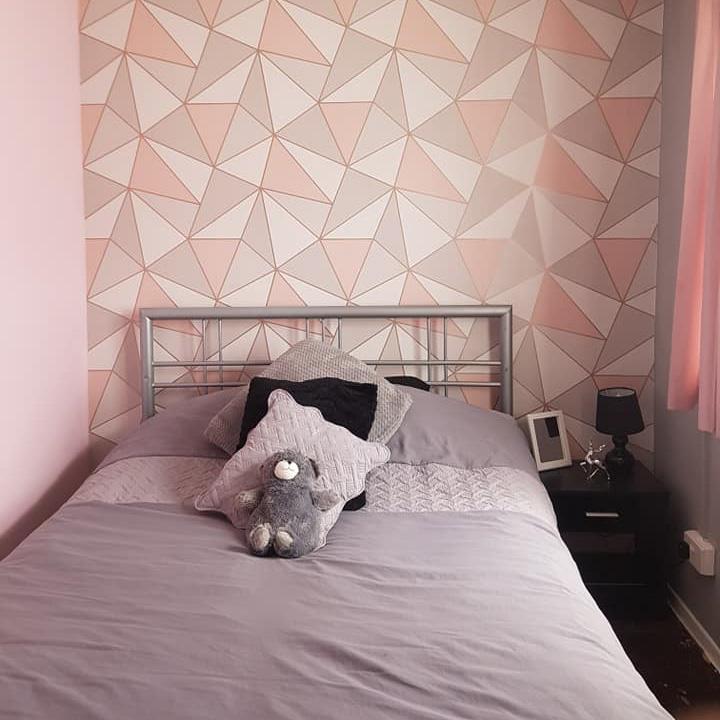 Rose Gold and Pink Geometric Wallpaper Girls Bedroom Terri