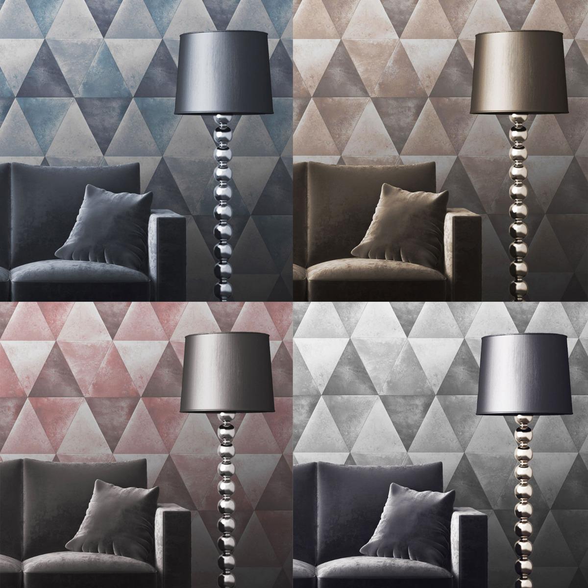 Caden Metallic Geometric Wallpaper