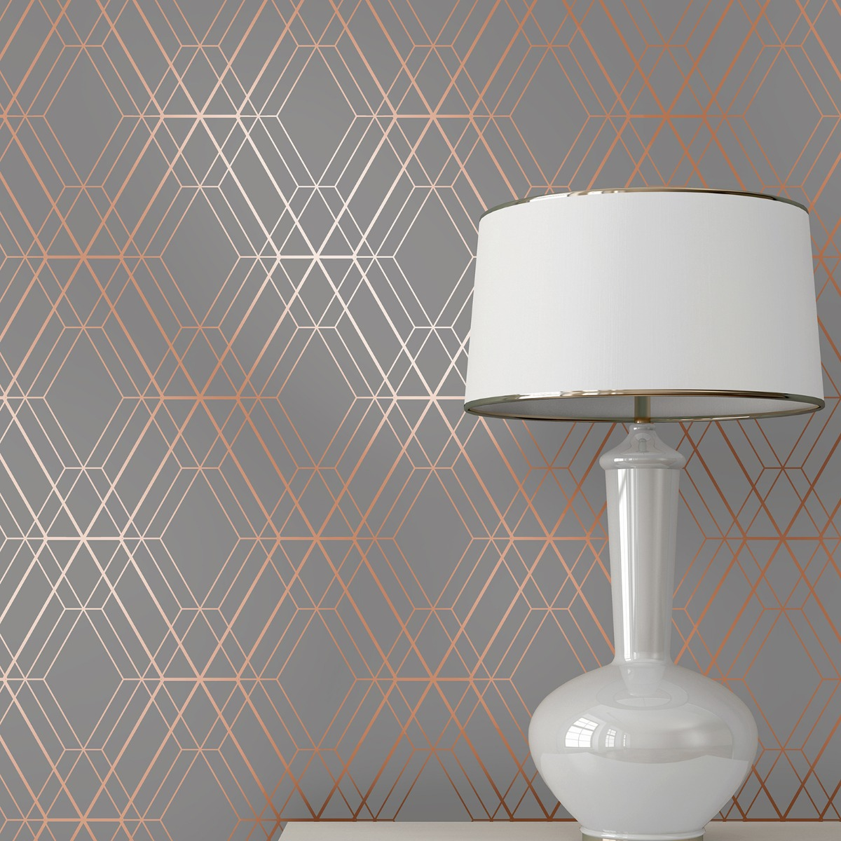 NAVY//GOLD CHARCOAL//COPPER WORLD OF WALLPAPER METRO ILLUSION GEOMETRIC METALLIC