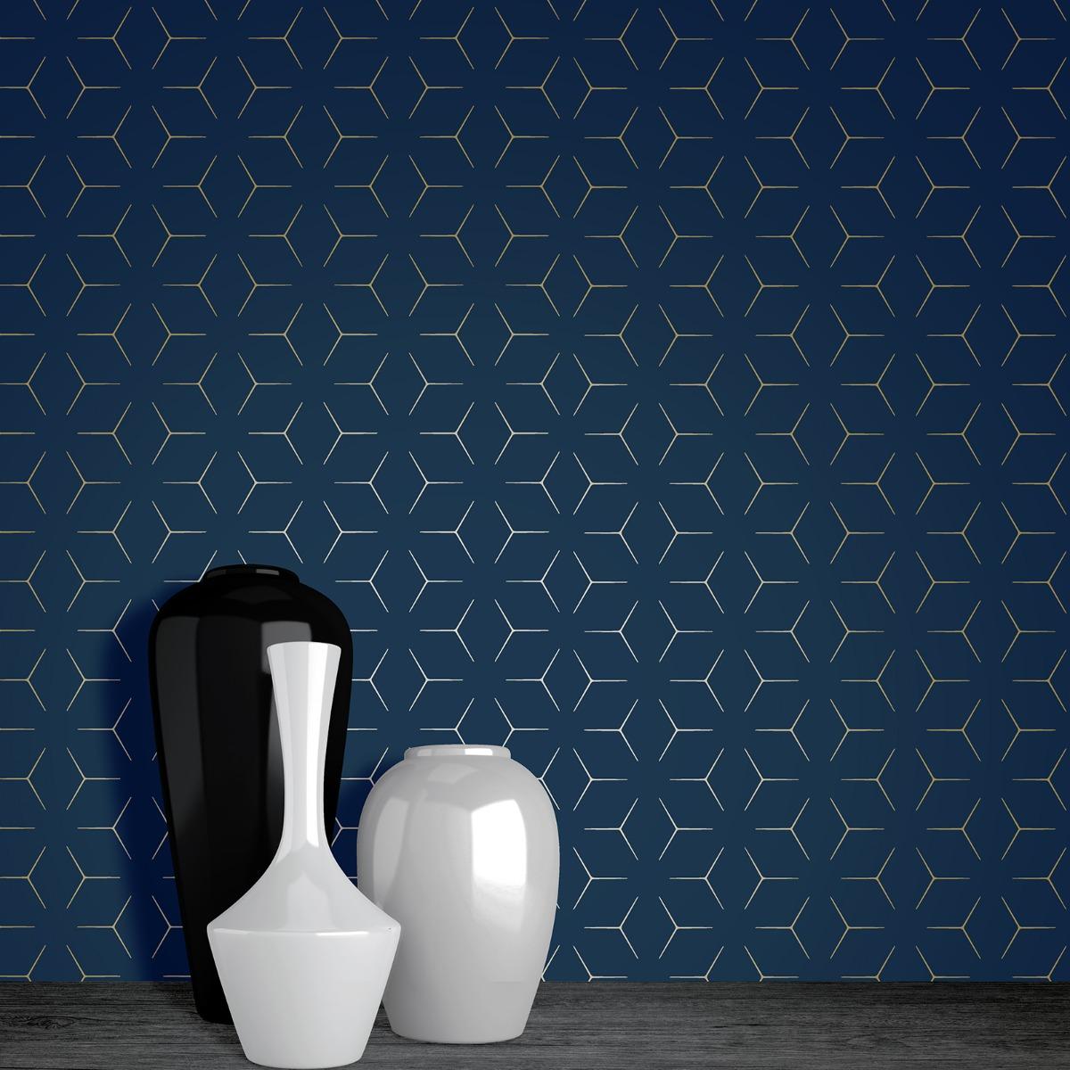 Metro Illusion Geometric Wallpaper - Navy Blue and Gold