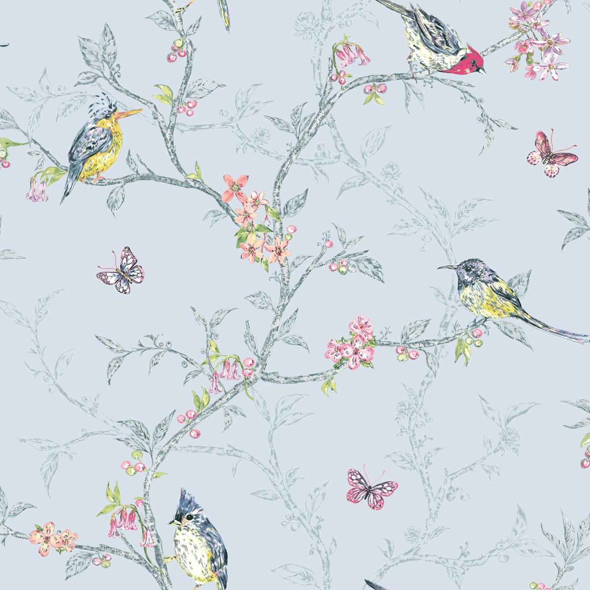 Phoebe Birds Wallpaper Blue World of Wallpaper 50140