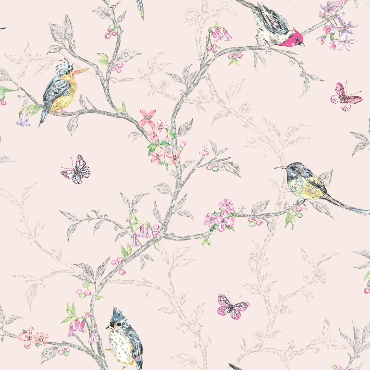 Phoebe Birds Wallpaper Blush Pink World of Wallpaper 50141