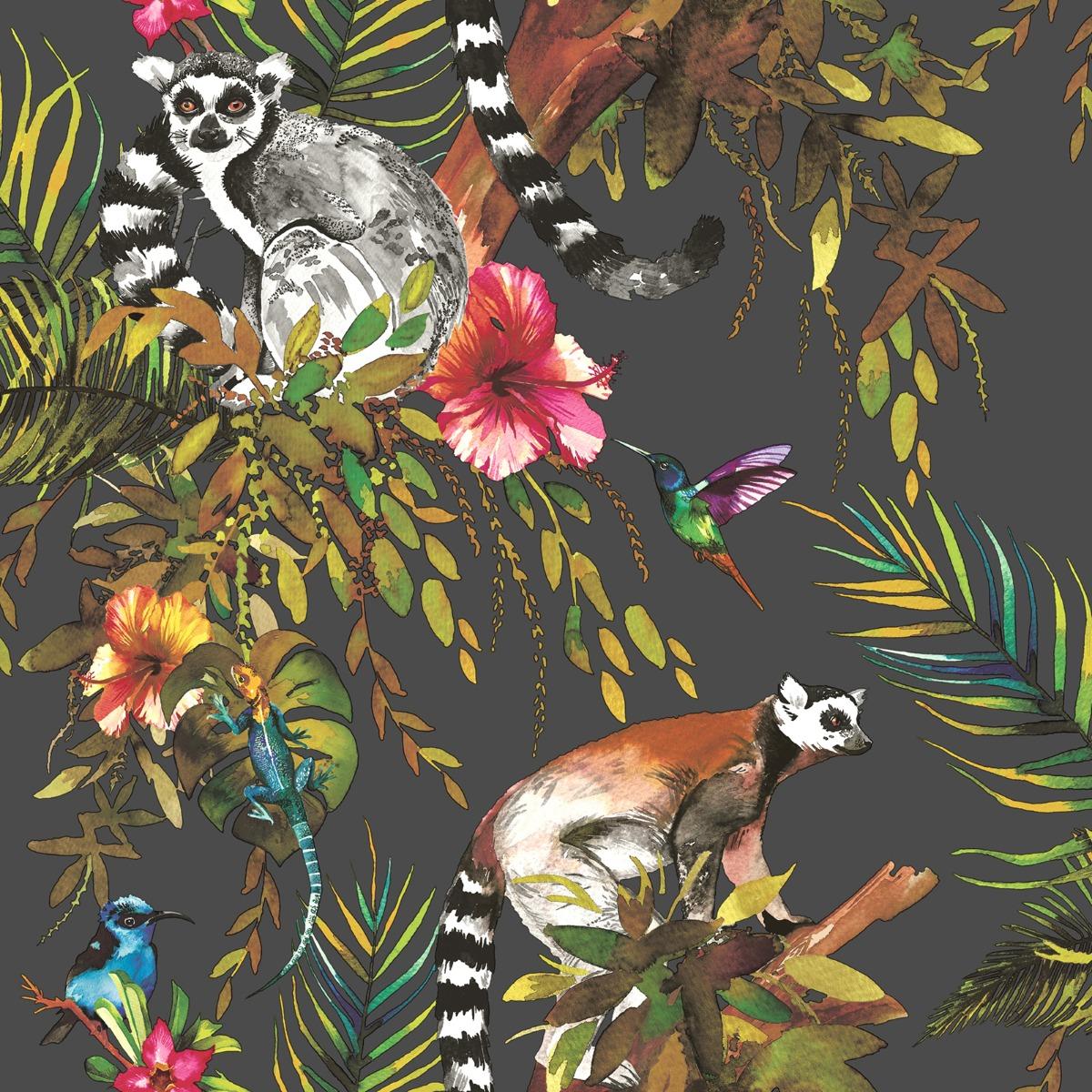 Lemur Wallpaper Black and Multi World of Wallpaper 50160