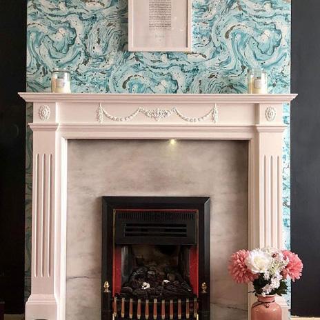 Marble Effect Wallpaper Fireplace Ideas Instagram @ahomefullerlove