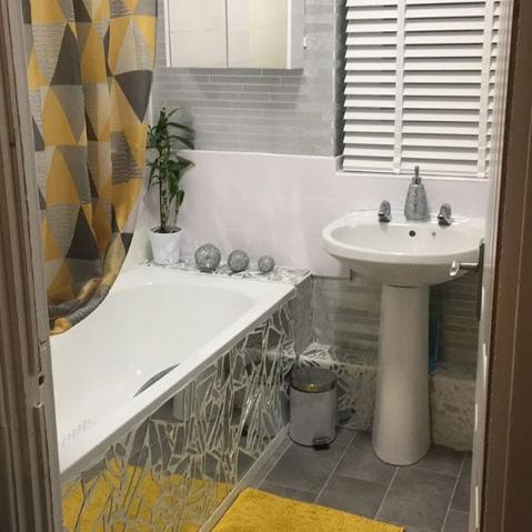 Foil Slate Effect Wallpaper Grey Bathroom Instagram @amie_______