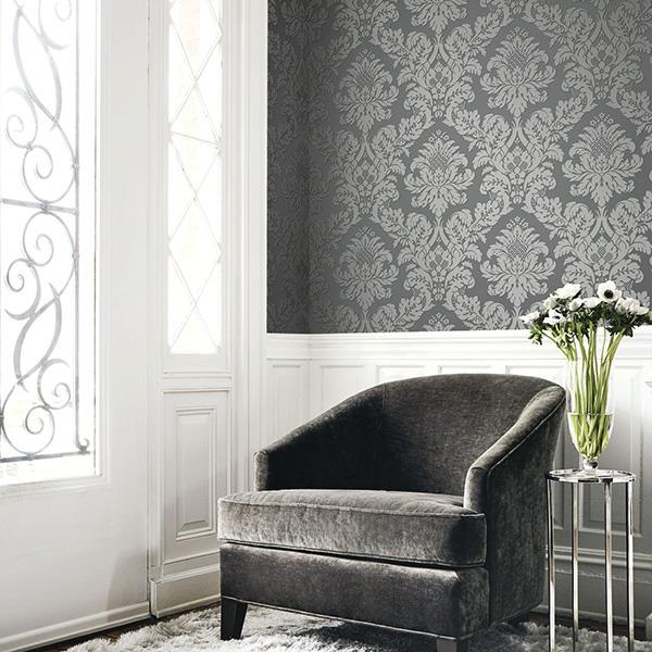 Glitter Damask Wallpaper Grey / Silver Pear Tree