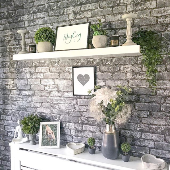 Grey Brick Effect Wallpaper Instagram @twelvethegreyhouse