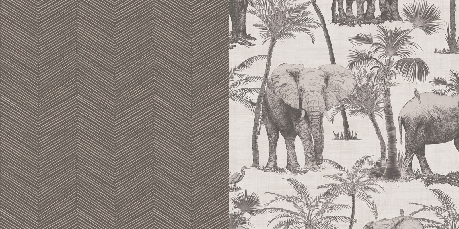 Charcoal Elephant and Arrow Zig Zag Wallpaper