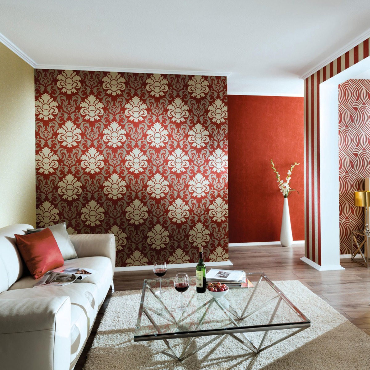 Carat Damask Glitter Wallpaper Gold and Red