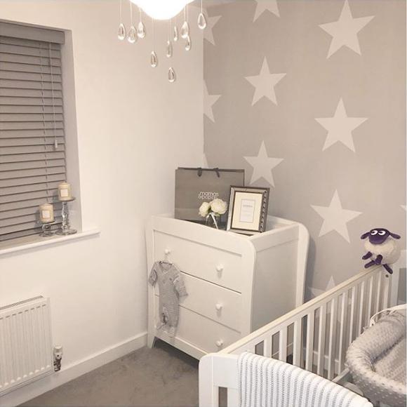 Baby Nursery Grey and White Star Wallpaper Instagram @shrewsburyhome