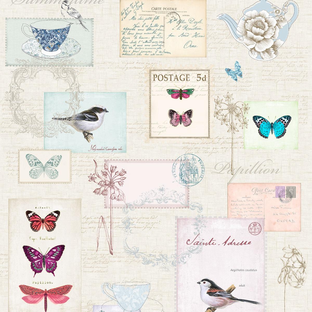 Vintage Postcards Wallpaper Windsor Wallcoverings A160